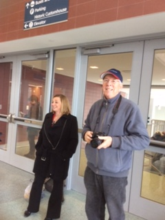 Train enthusiast Albert McFadyen, of Lockport, on right, was one of the travelers to board the first train to depart from Niagara Falls' new Amtrak station on Tuesday, Dec. 6, 2016. (Nancy Fischer / The Buffalo News)