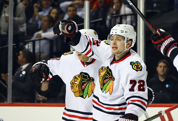 Chicago's Artemi Panarin celebrates after one of his two power-play goals Thursday in Brooklyn against the New York Islanders (Getty Images).