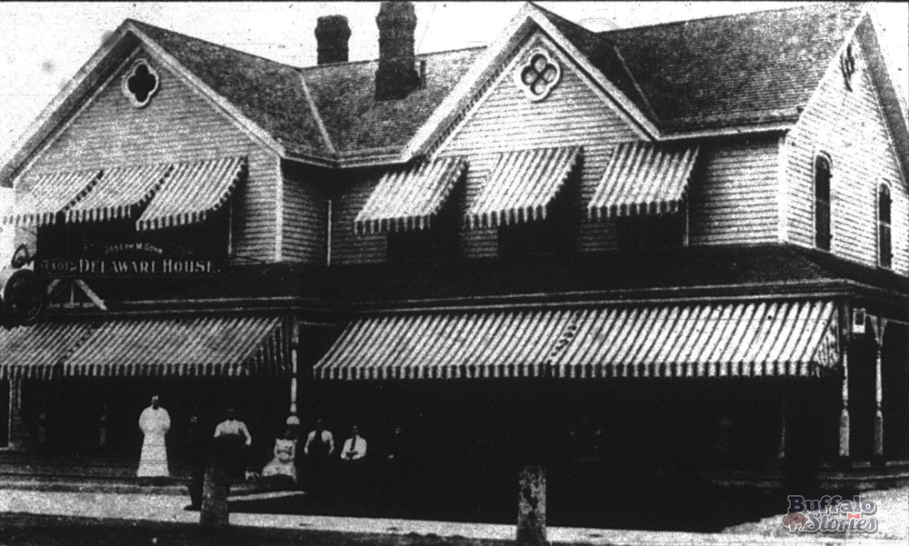 "Joseph M. Gohn's ""Delaware House"" is thought to be the original home of beef on weck. The tavern/hotel stood at the southeast corner of Delaware and West Delavan avenues. A gas station was built on the spot in the 1931, when Gohn's tavern moved next door. (Buffalo Stories archives)"