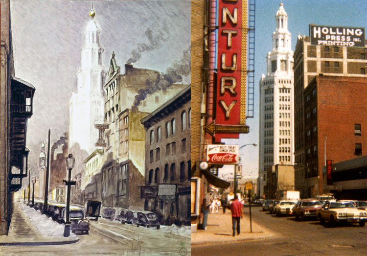"Burchfield called the Electric Building ""one of the finest buildings in Buffalo or anywhere."" He painted ""Buildings and Street Scene"" in 1940. James Vullo photographed the area in the mid-70's, including the marquee sign pointing to the entrance of the Century Theater around the corner on Main Street. (Charles E. Burchfield Archives)"