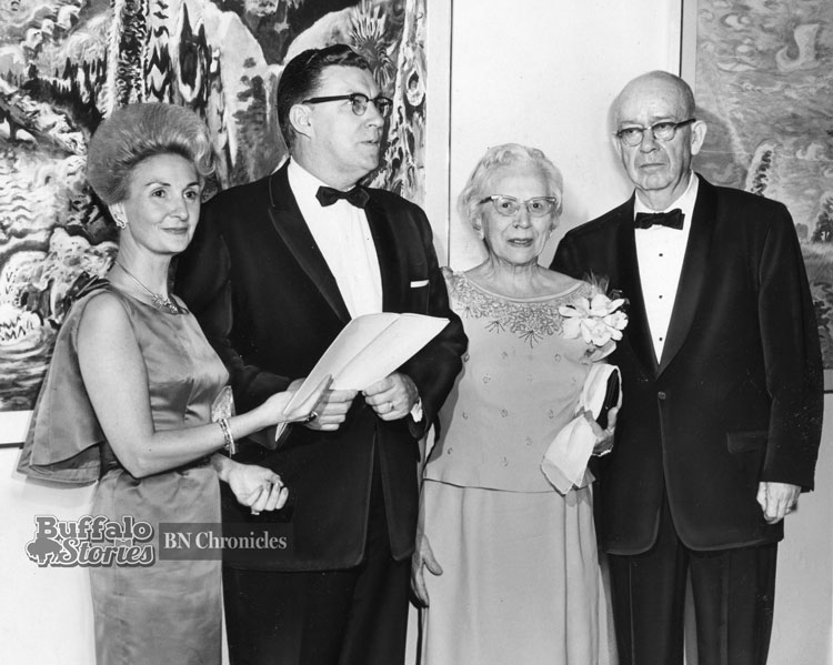 Charles Burchfield (right), looks a bit uncomfortable with all the attention at the opening of the center bearing his name, December, 1966. (Buffalo News archives)