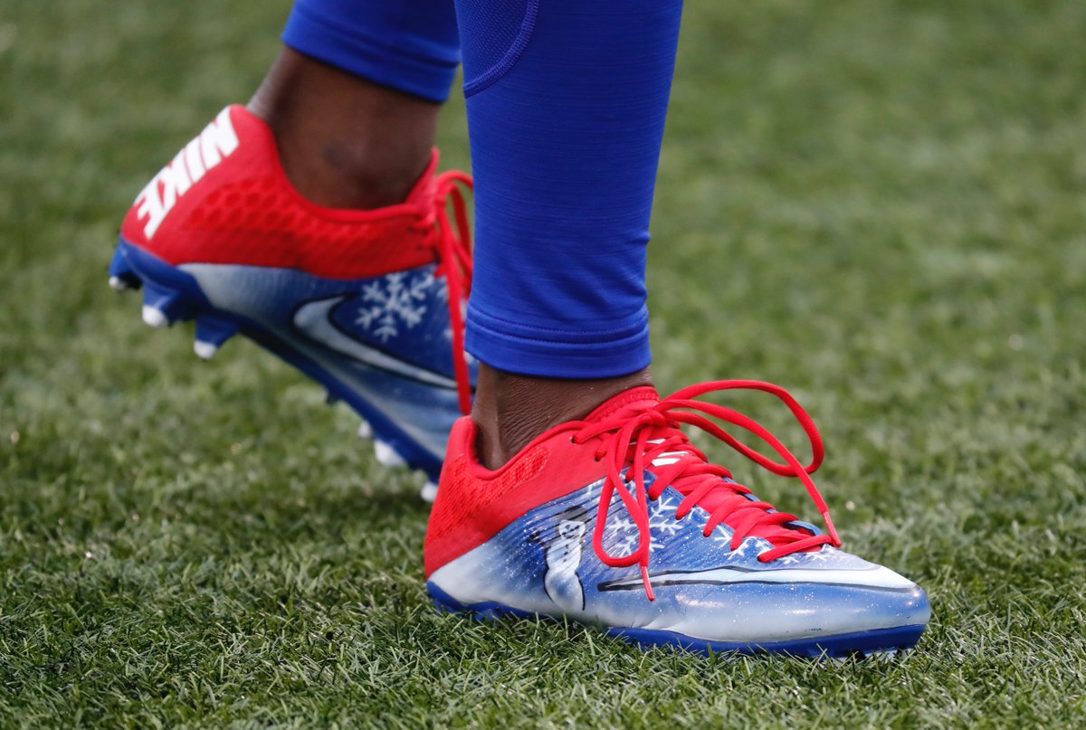 Bills receiver Marquise Goodwin's cleats show he's in the Christmas spirit before Saturday's game against the Dolphins. (Harry Scull Jr./Buffalo News)