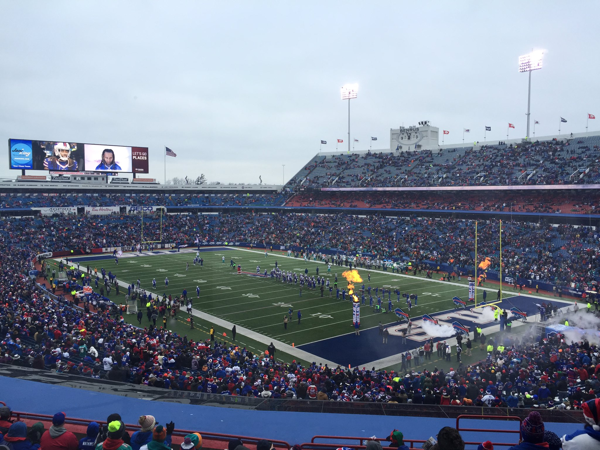 Pregame ceremonies at New Era Field. (Keith McShea/Buffalo News)