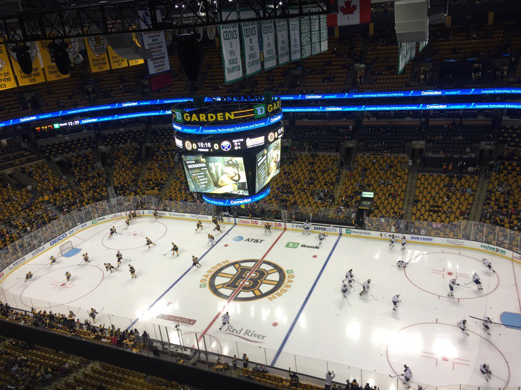 View of the ice from above at TD Garden in Boston where the Sabres play the Bruins. (Mike Harrington/Buffalo News)
