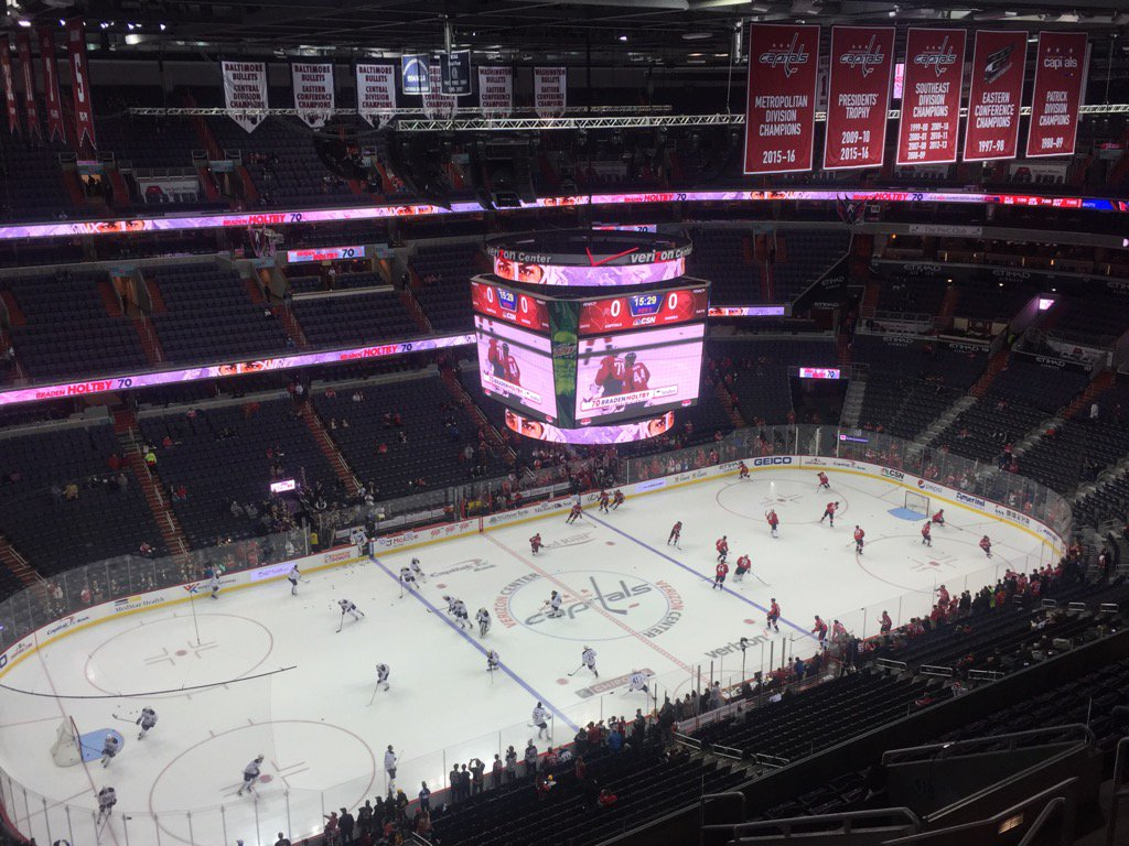 The Sabres and Capitals warm up in the Verizon Center. (Mike Harrington/Buffalo News)