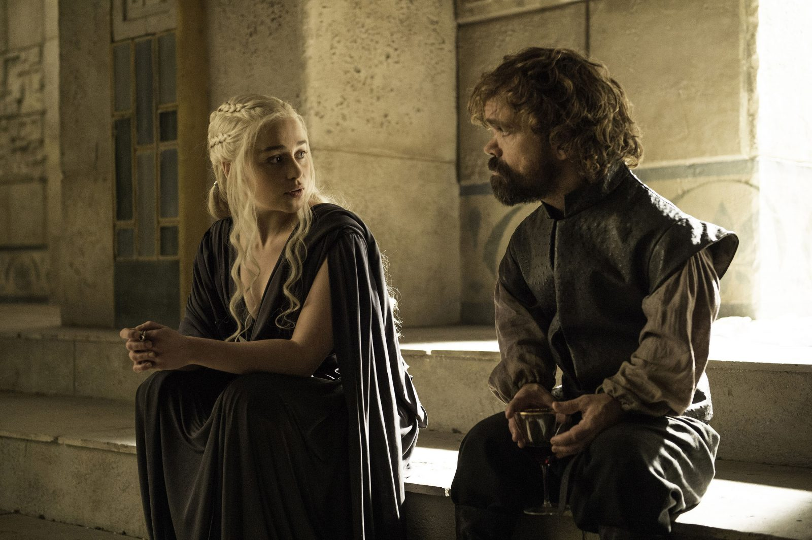 Emilia Clarke as Daenerys Targaryen and Peter Dinklage as Tyrion Lannister in a scene from 'Game of Thrones.' (Helen Sloan/HBO/TNS)