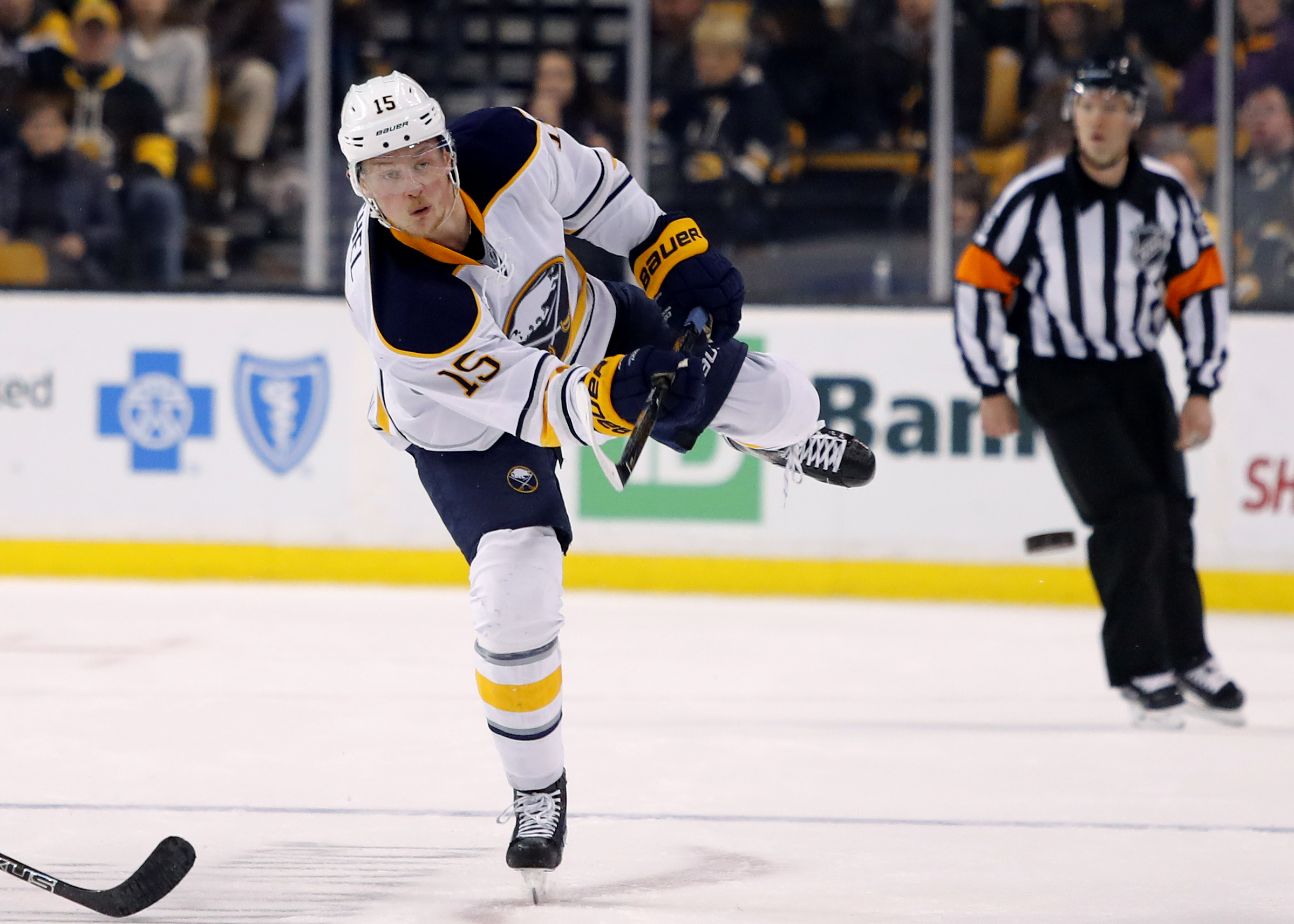 Jack Eichel fires the puck into the Boston zone during the third period Saturday (Winslow Townson-USA TODAY Sports)