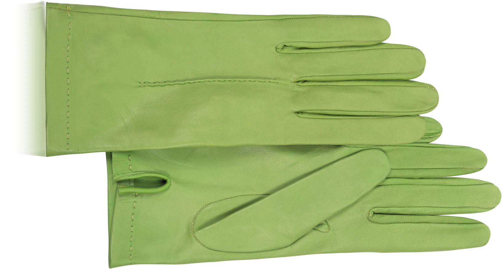 Greenery, Pantone's Color of the Year, can be seen in leather gloves by Forzieri.