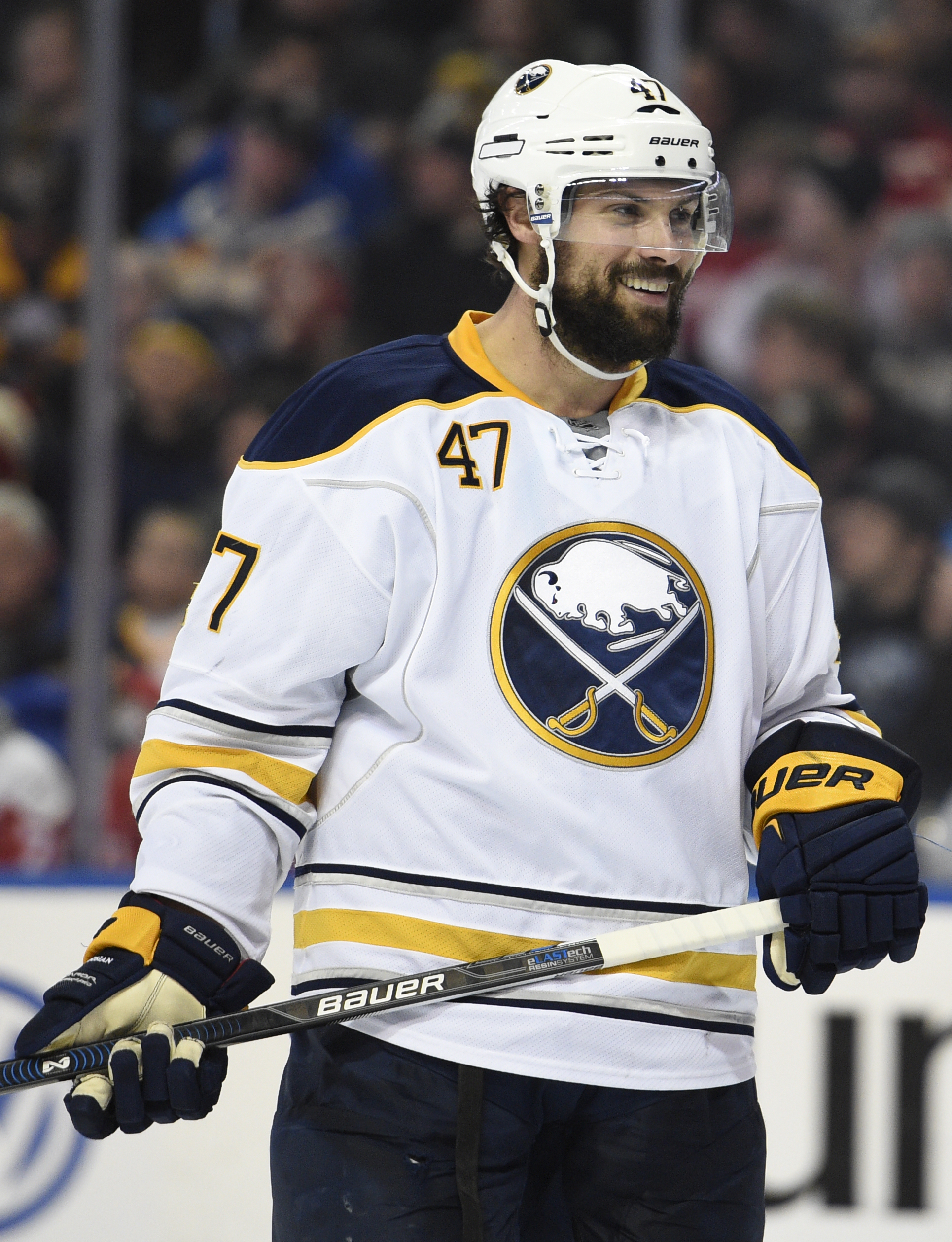 With Zach Bogosian back, the Sabres have something to smile about regarding their defense corps. (Getty Images)