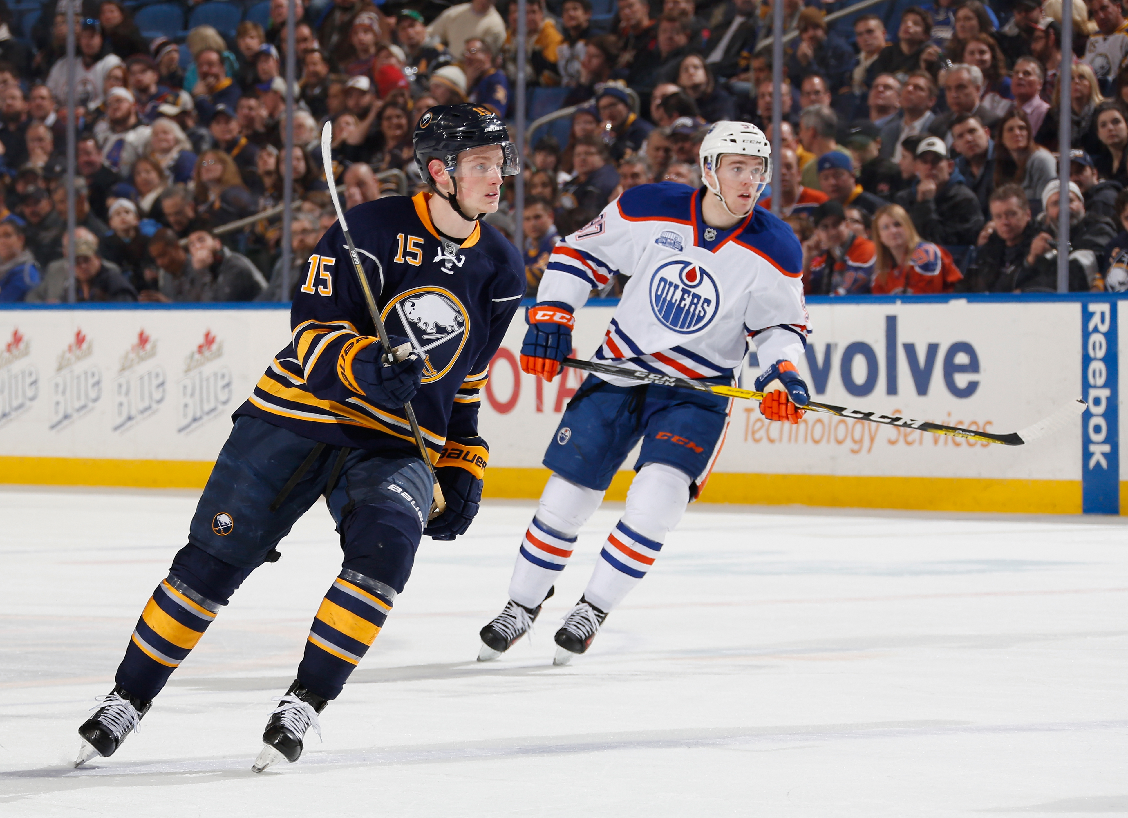 The Sabres' Jack Eichel and Edmonton's Connor McDavid, who met in March, will face each other for the second time.  (Getty Images)