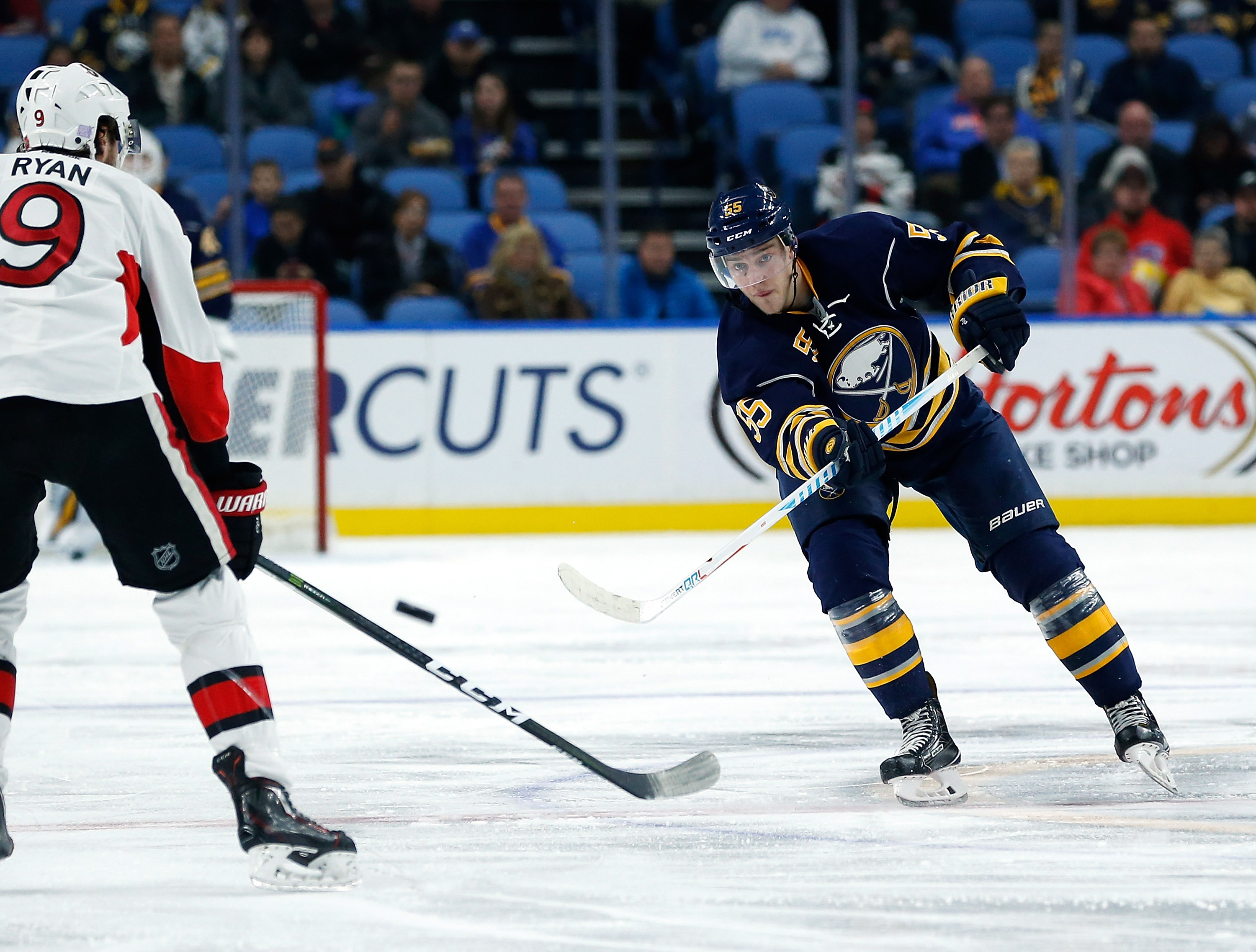 After two goals and 10 assists in nine games, Rasmus Ristolainen is on pace for 57 points. (Getty Images)