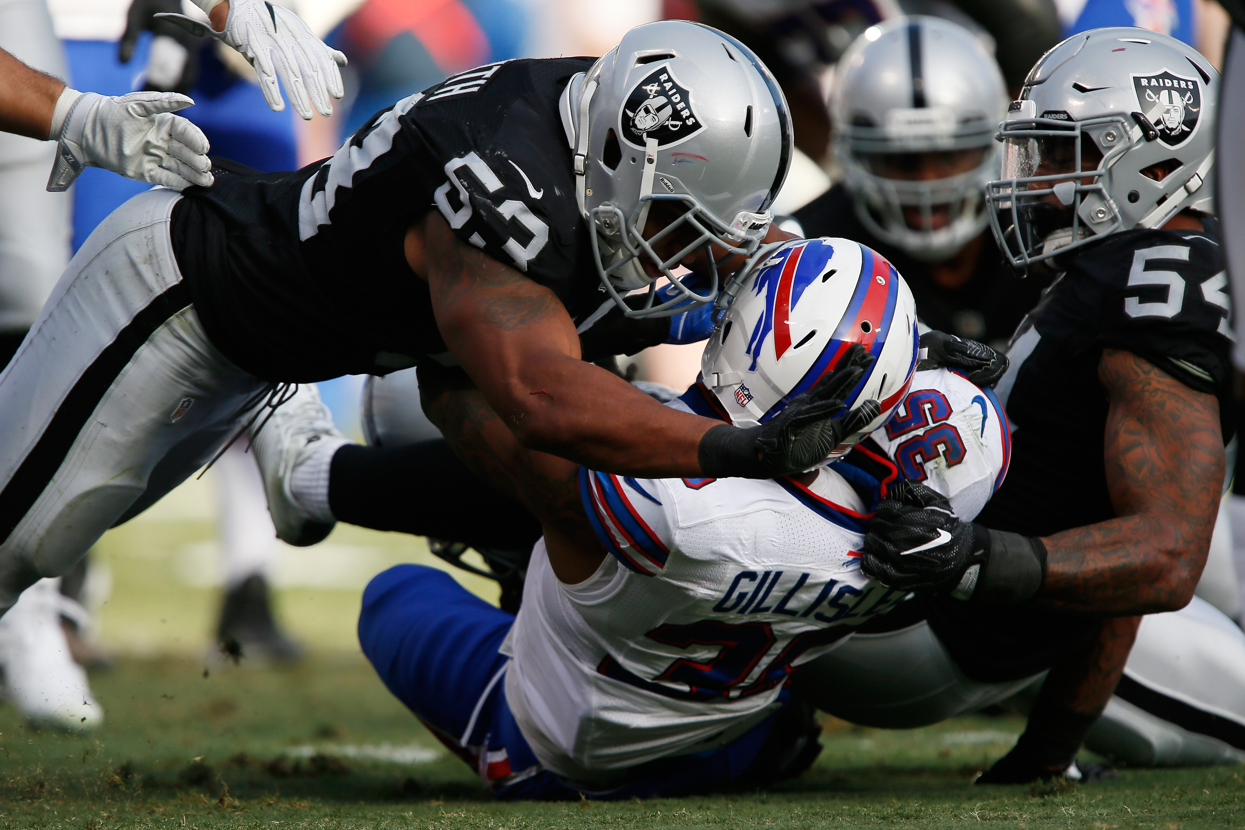 Mike Gillislee of the Bills is hit by Malcolm Smith (53). (Getty Images)