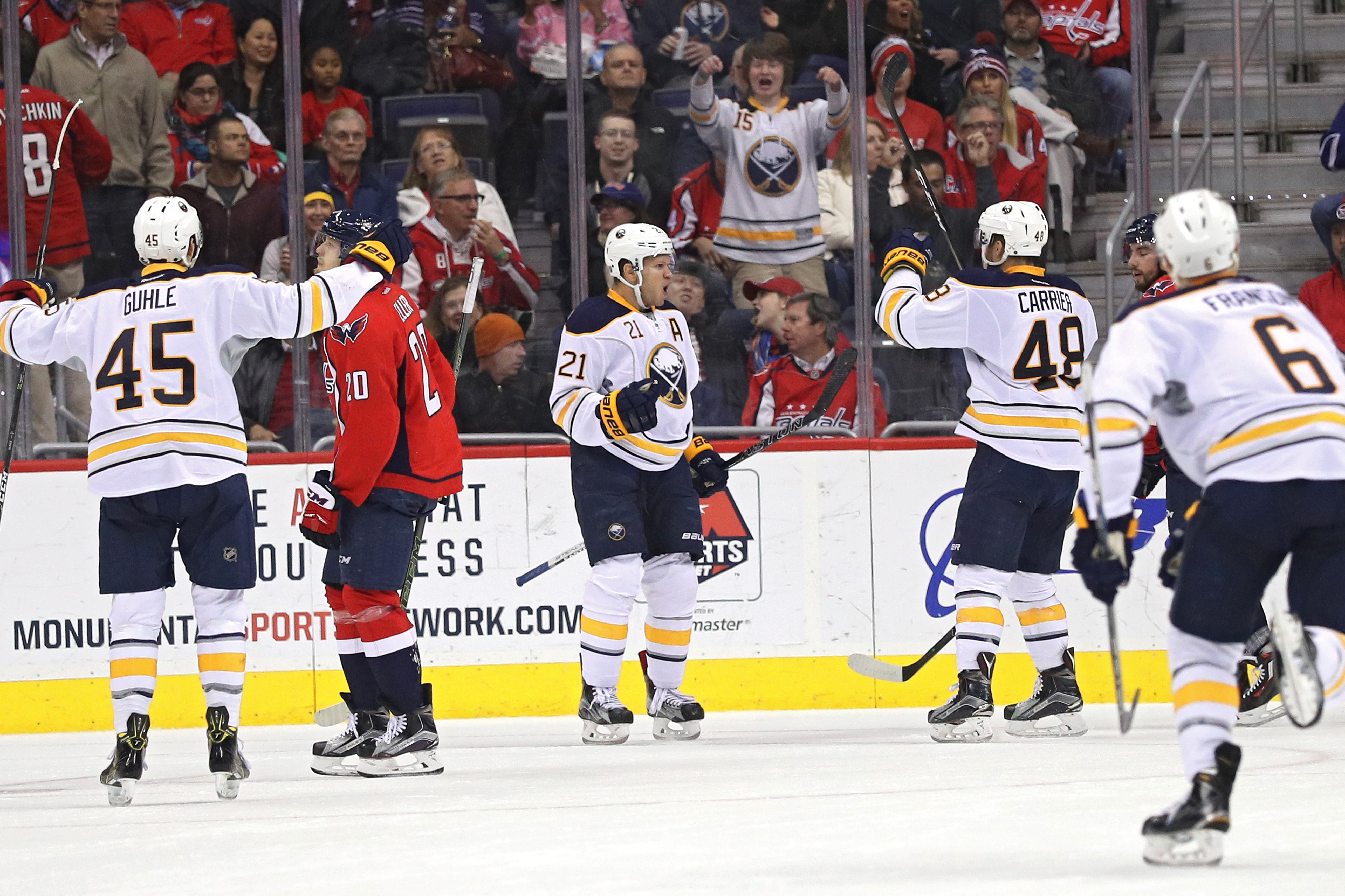 Kyle Okposo (21) has four goals and eight points in the Sabres' last nine games. (Getty Images)