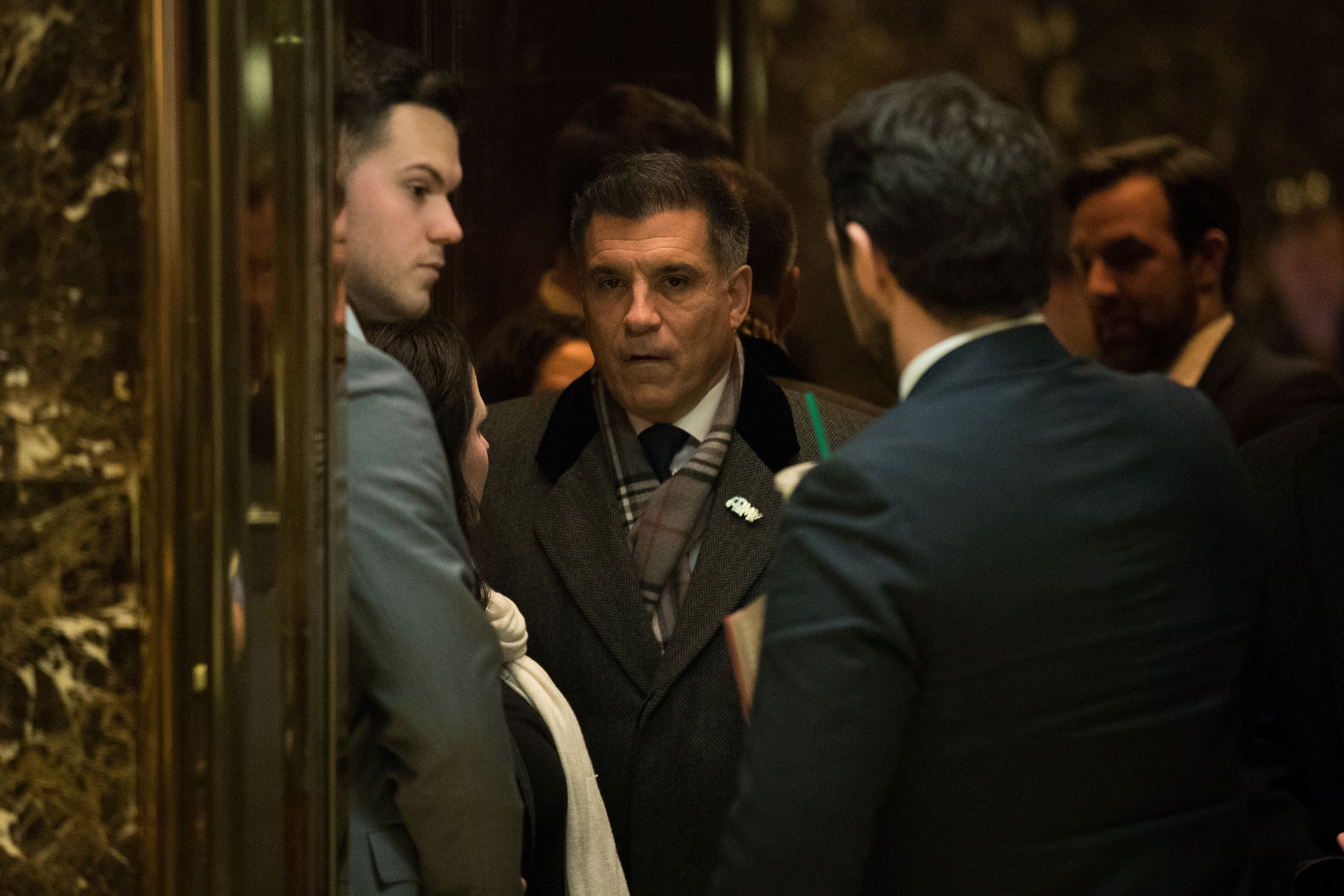 Vincent Viola, center, visited Trump Tower last week to meet with Donald Trump. (Getty Images)