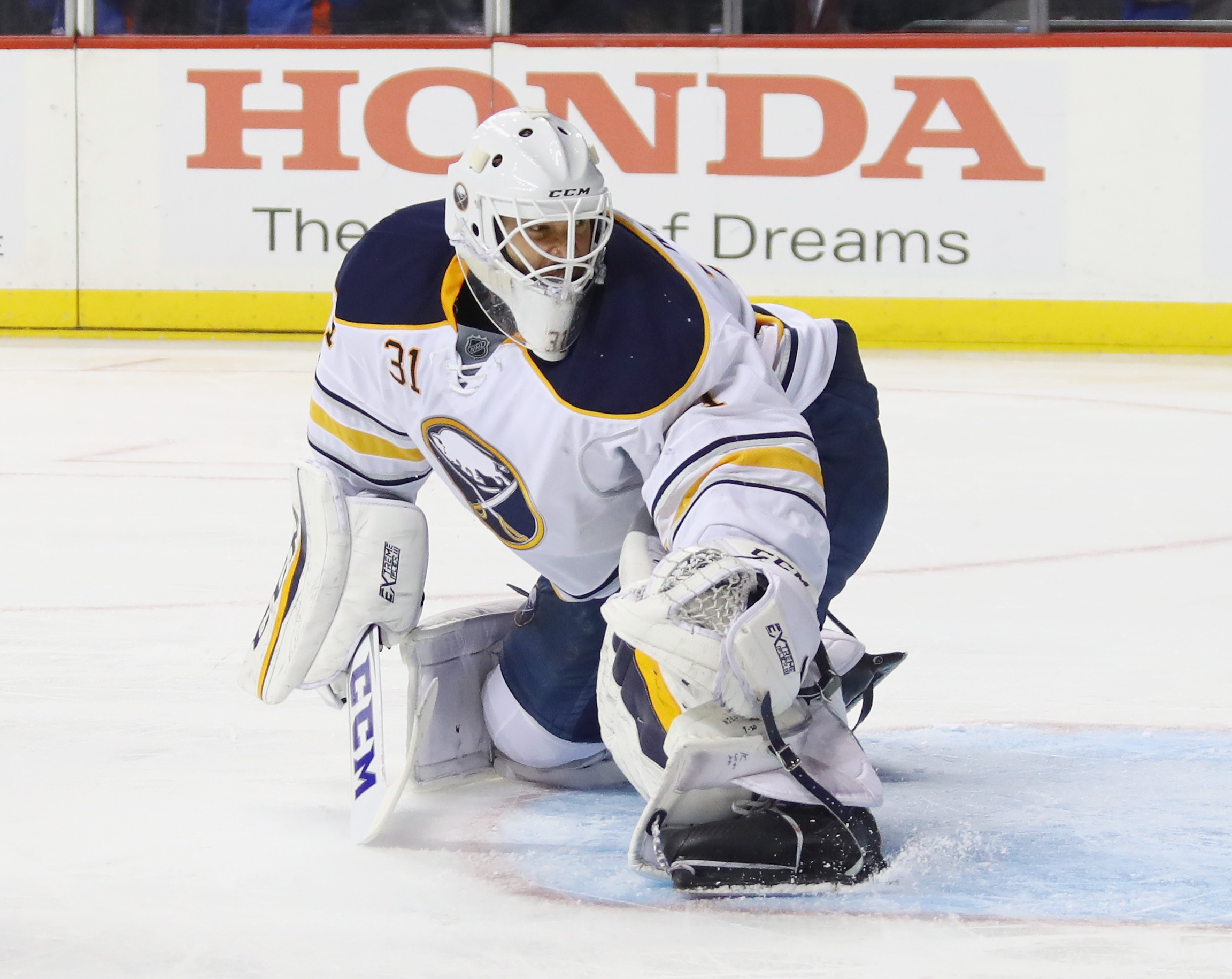 A Rochester company has made Anders Nilsson's plain mask look like his original one. (Getty Images)