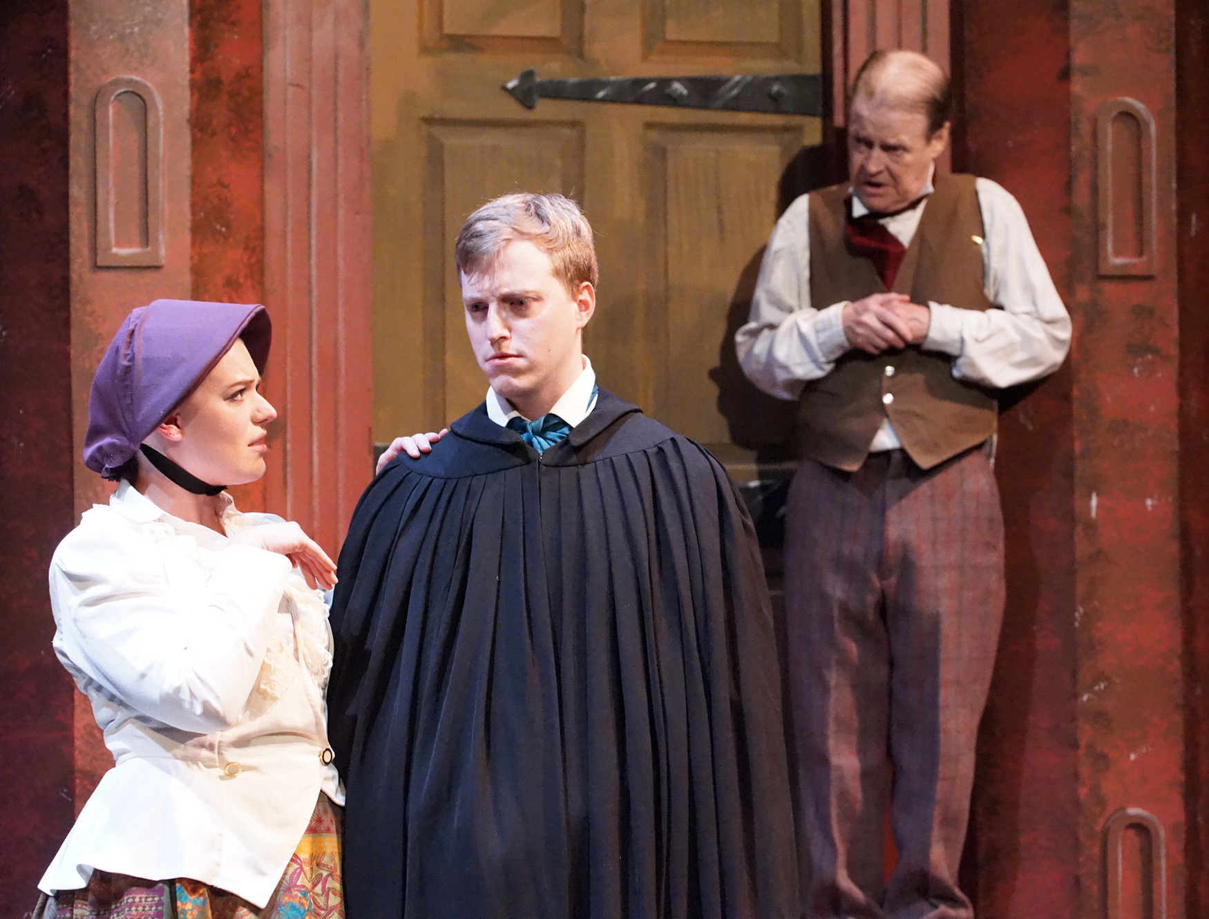 """Gerry Maher, Lisa Vitrano, Andréa Andolina, left, Steve Brachmann and Gerry Maher star in """"The Chimes: A Goblin Story"""" for Road Less Traveled Productions. (Photos courtesy of Gina Gandolfo-Lopez.)"""