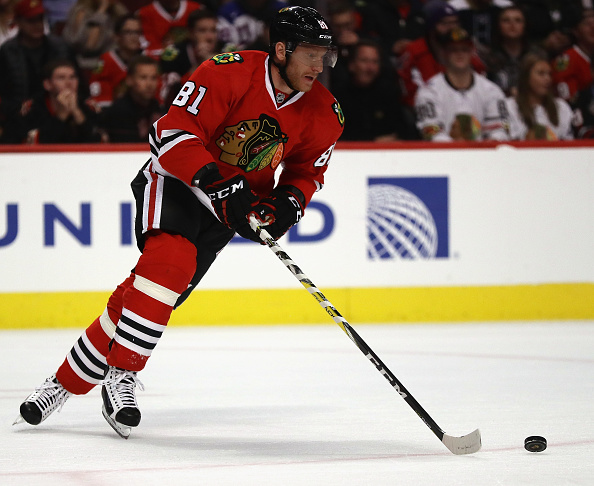 Chicago's Marian Hossa scored in overtime Thursday night to beat New Jersey (Getty Images).