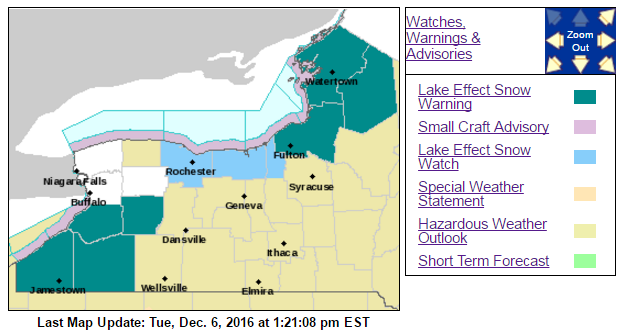 As much as three feet of snow is possible by late Friday in Southern Erie, Wyoming, Chautauqua and Cattaraugus counties, which are all under a lake-effect snow warning. (National Weather Service)