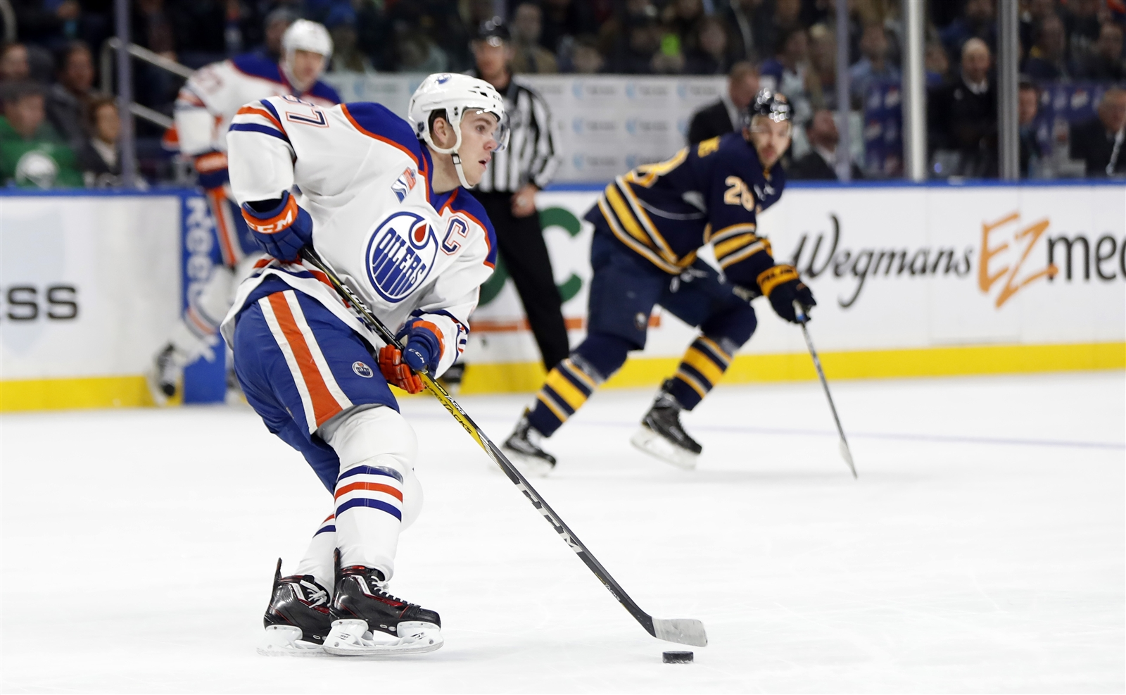 Compared to the game before and the game after, Connor McDavid had a quiet night here Tuesday (Harry Scull Jr./Buffalo News).