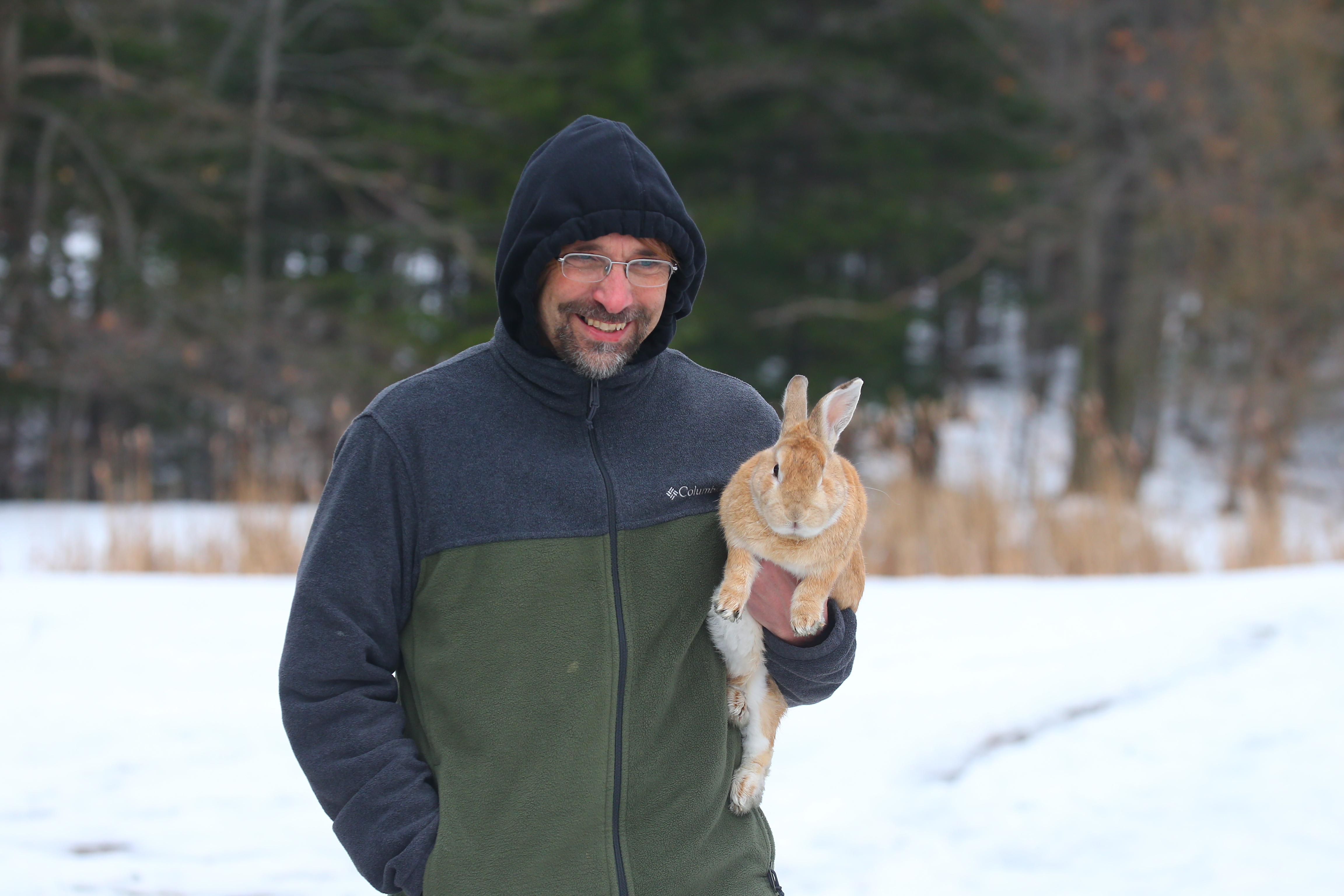 Jim Zubler wraps up a walk with his rabbit,  Cinnamon, at Chestnut Ridge Park, in Orchard Park, N.Y., on  Sunday,  Dec. 25, 2016. (John Hickey/Buffalo News)