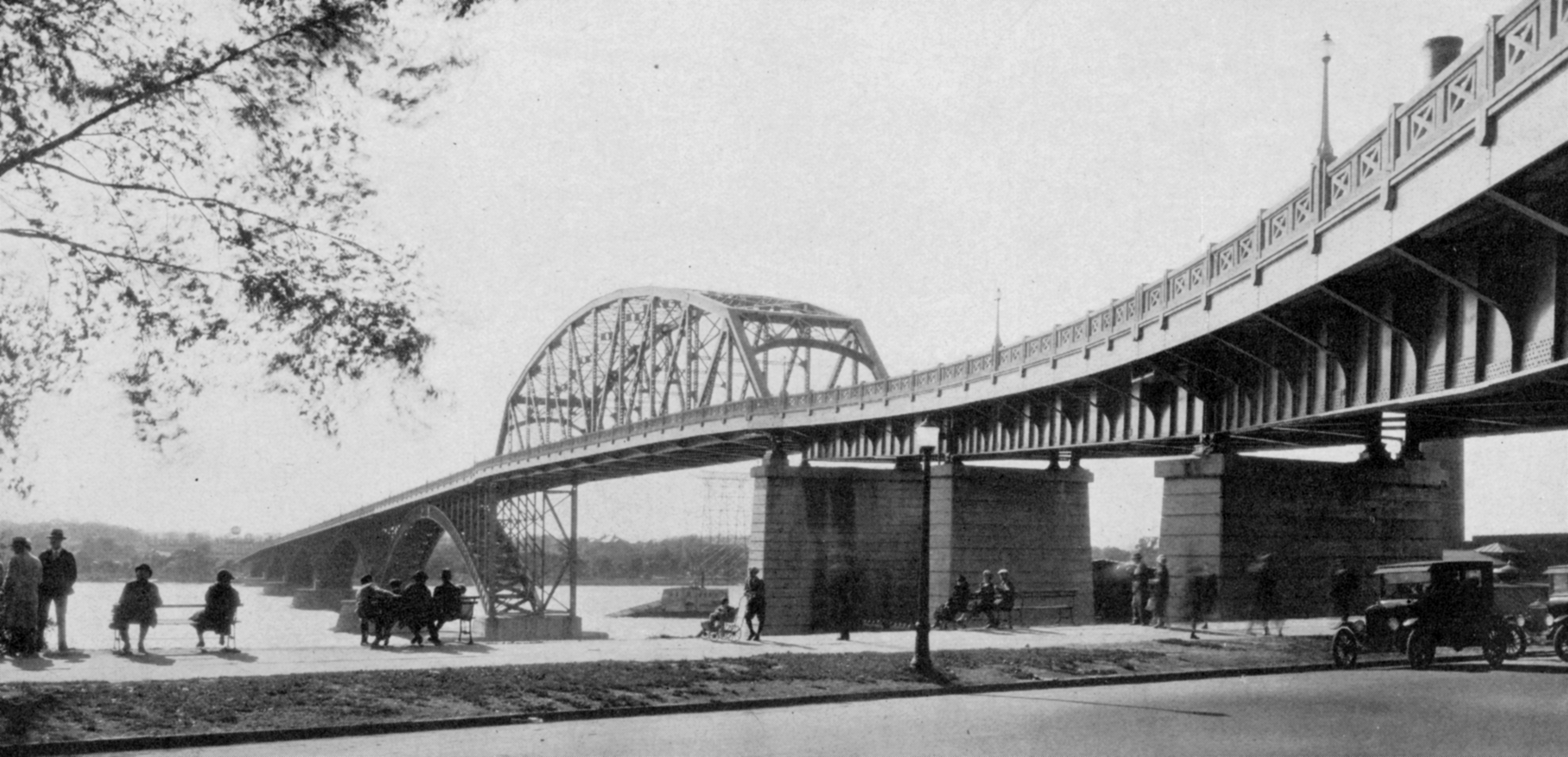 The Peace Bridge, shortly after it opened in the late '20s. Buffalo's old municipal water intake is visible between the piers of the bridge. This structure fed water to the Massachusetts Avenue Pumping Station to supply water to the City of Buffalo. (Buffalo Stories archives)