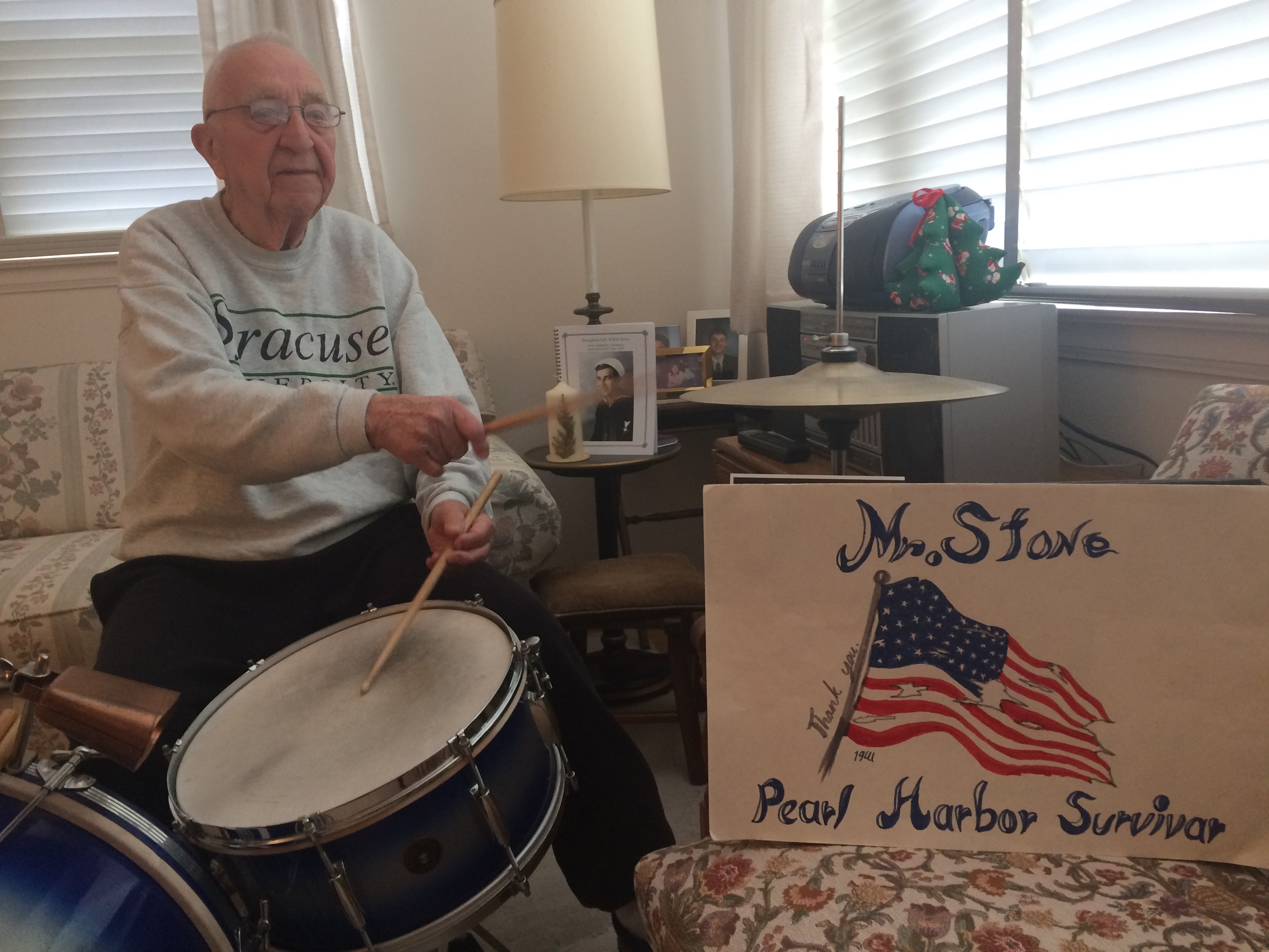 When Ed Stone can't sleep, the 93-year-old Pearl Harbor survivor plays the drums, in his living room. (Sean Kirst)