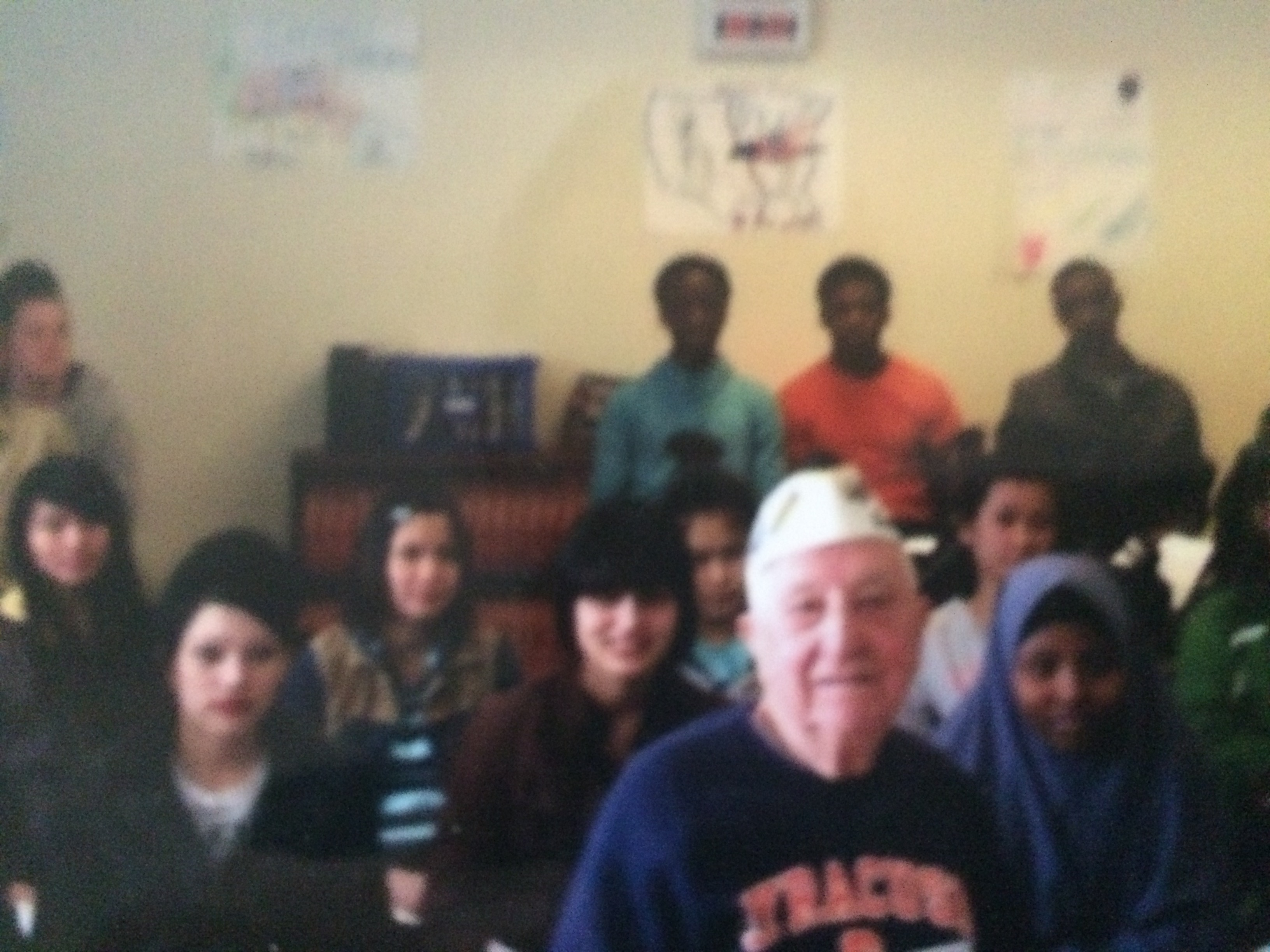 Ed Stone at Fowler High School, in Syracuse: At 93, a message of world change that resonates with youths. (Image courtesy Ed Stone)
