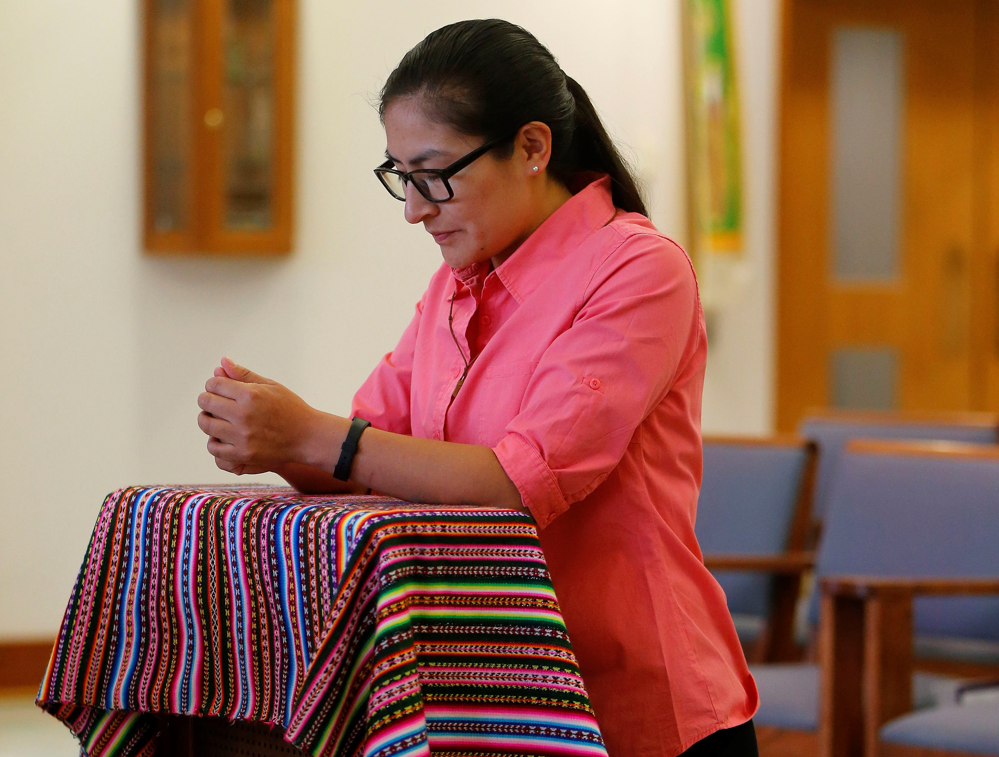 Sister Reyna Jesusa Ontón Ñahui prays in the chapel at the Sisters of St. Francis in Williamsville on Friday, Dec. 9, 2016.  (Mark Mulville/Buffalo News)