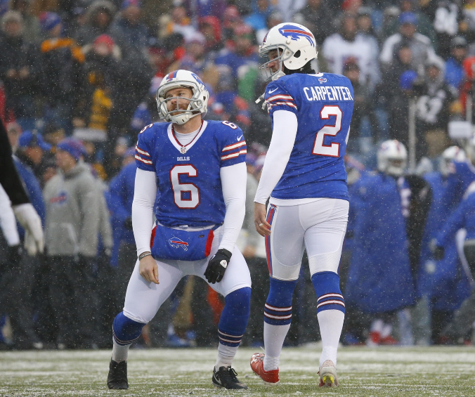 Punter Colton Schmidt (6) and kicker Dan Carpenter struggled in 2016 for the Buffalo Bills. (News file photo)