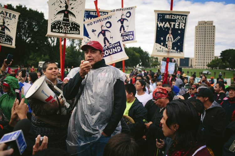 David Archambault II, chairman of the the Standing Rock Sioux, speaks at a rally outside the North Dakota State Capitol in Bismarck on Sept. 9, 2016. A historic gathering of Native Americans celebrated after learning that the federal government ordered a pause in the construction of the Dakota Pipeline. (Alyssa Schukar/The New York Times)