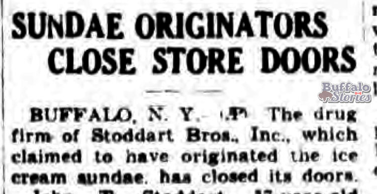 The Gloversville Morning Herald was one of many newspapers around the country to carry the story with Buffalo's claim as the home of the ice cream sundae.