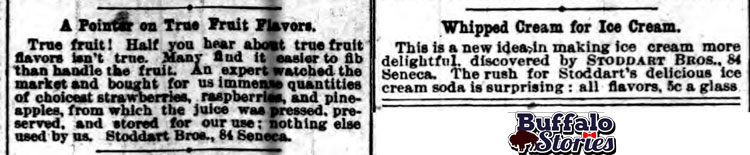 """1889 advertisements show that Stoddart Bros. in Buffalo was serving up ice cream garnished with elements of a modern sundae, a few years before other claimants to the """"original ice cream sundae"""" title. Buffalo Stories archives"""
