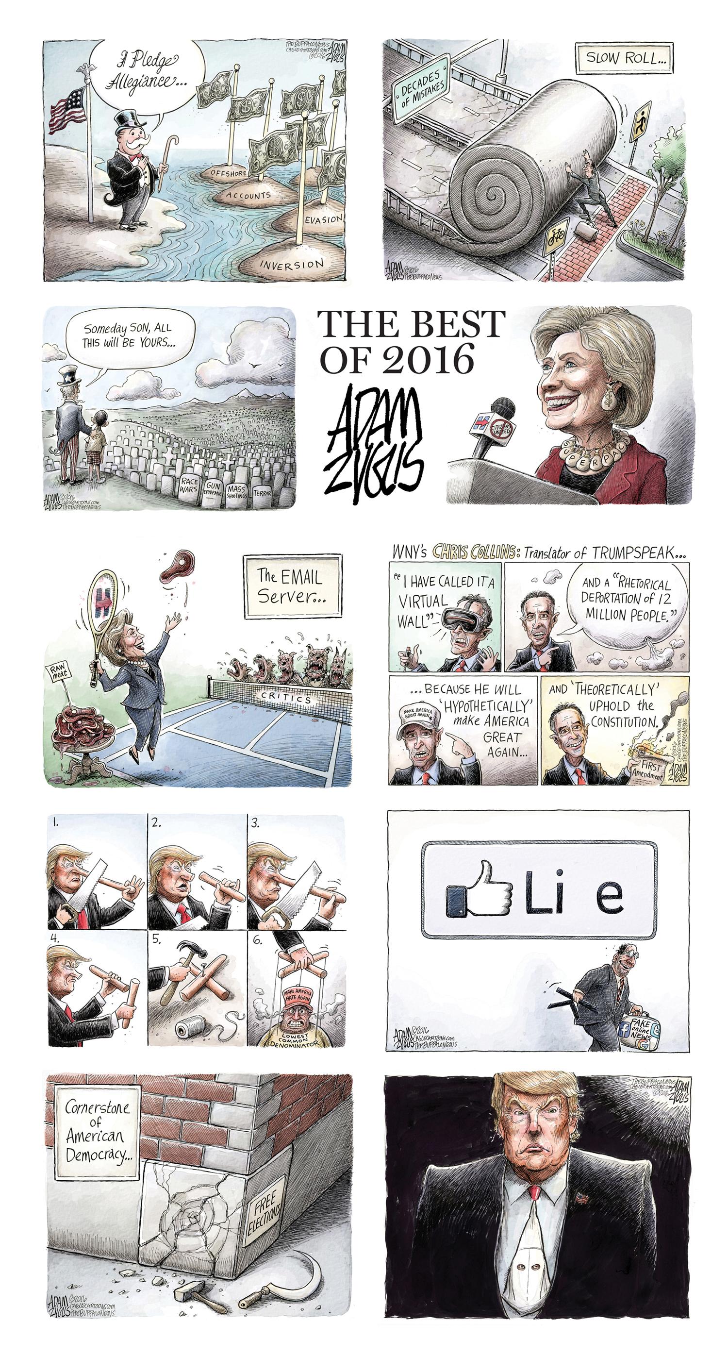2016, zyglis, trump, hillary, clinton, guns, shootings, chris collins, Facebook, fake news,