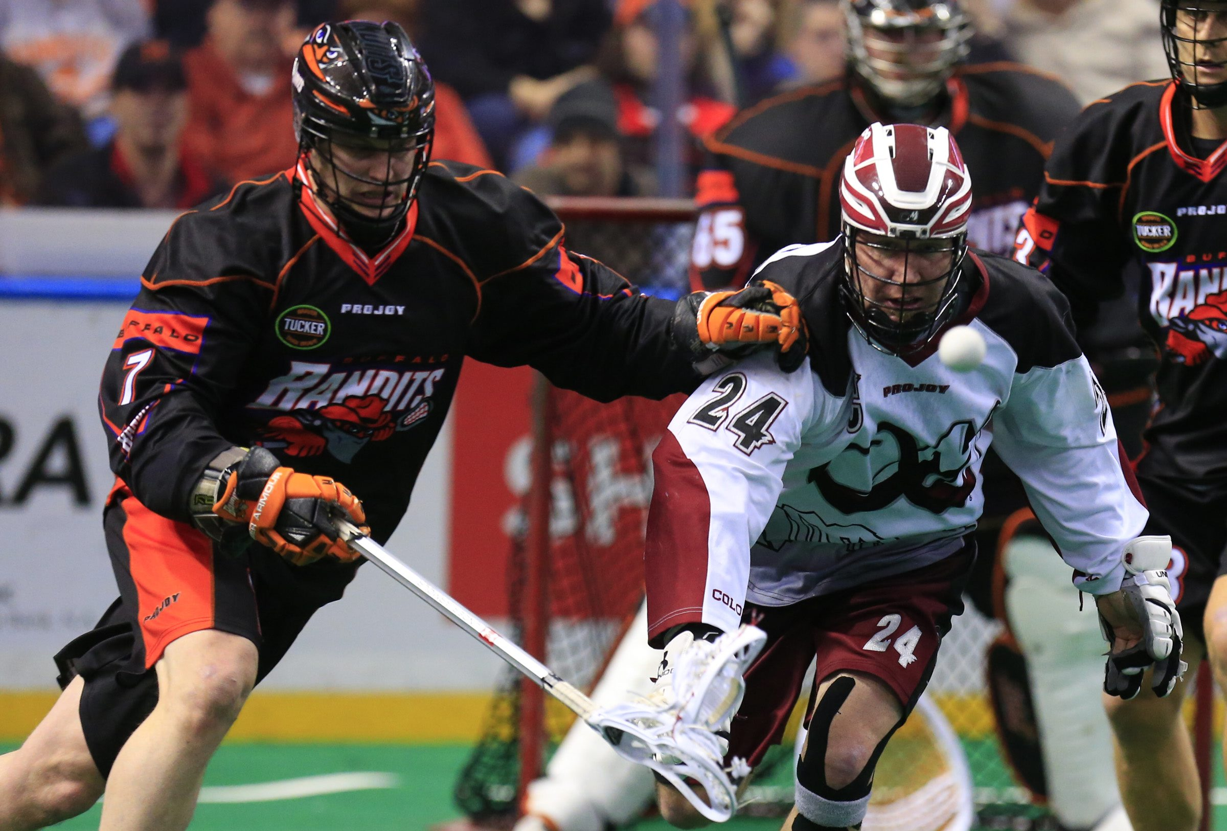 Colorado's John Grant Jr., the NLL's No. 2 all-time scorer, still attracts a lot of attention at the age of 42..(Harry Scull Jr./Buffalo News)