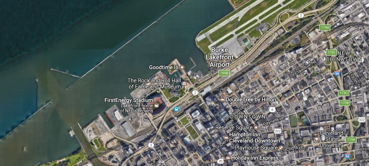 Cleveland's Burke Lakefront Airport is on Lake Erie's southern shore near the downtown core of the Ohio city. (Google maps)