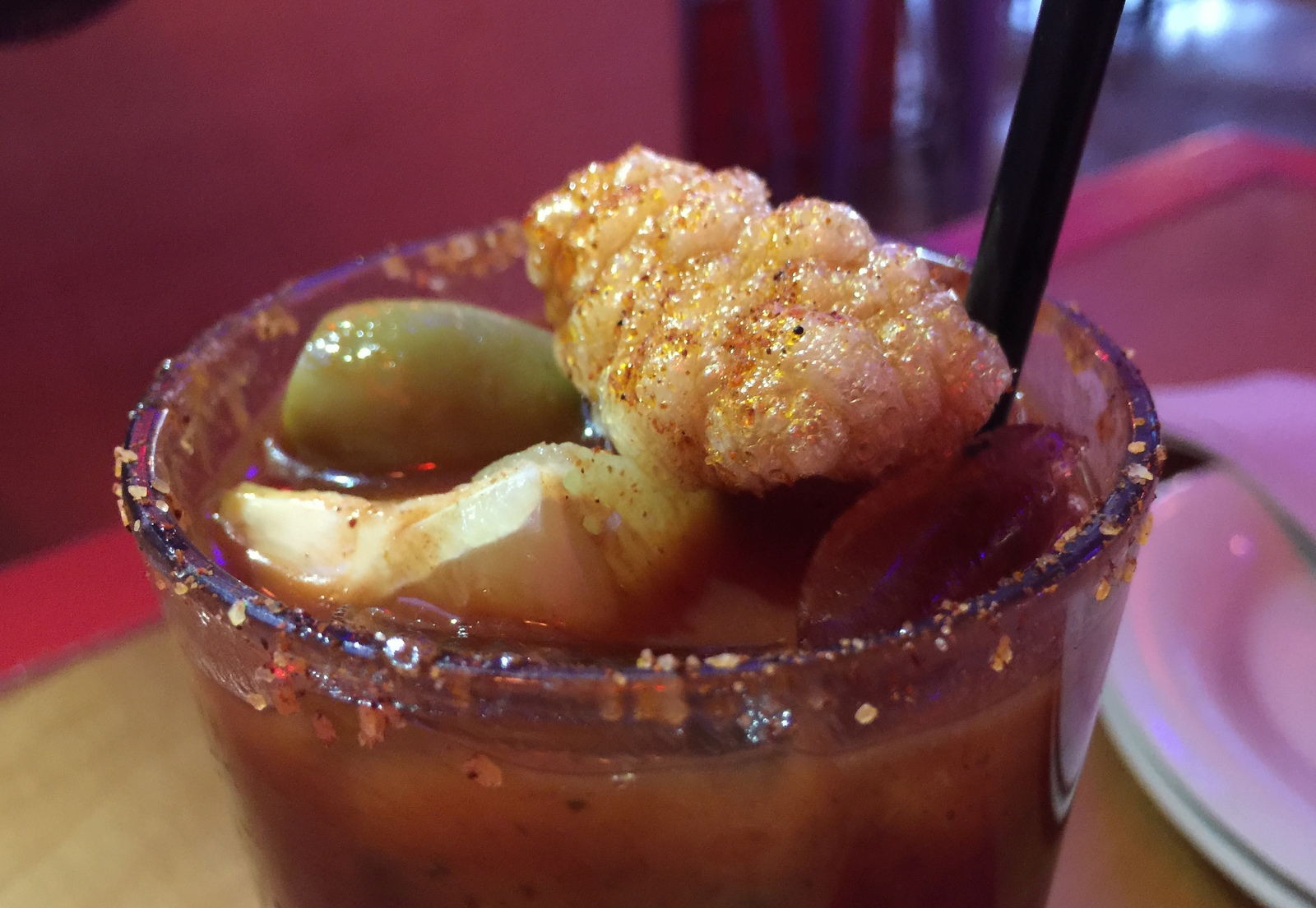 Spicy-salt-rimmed Mexican Bloody Mary at Deep South Taco. (Andrew Galarneau/Buffalo News)