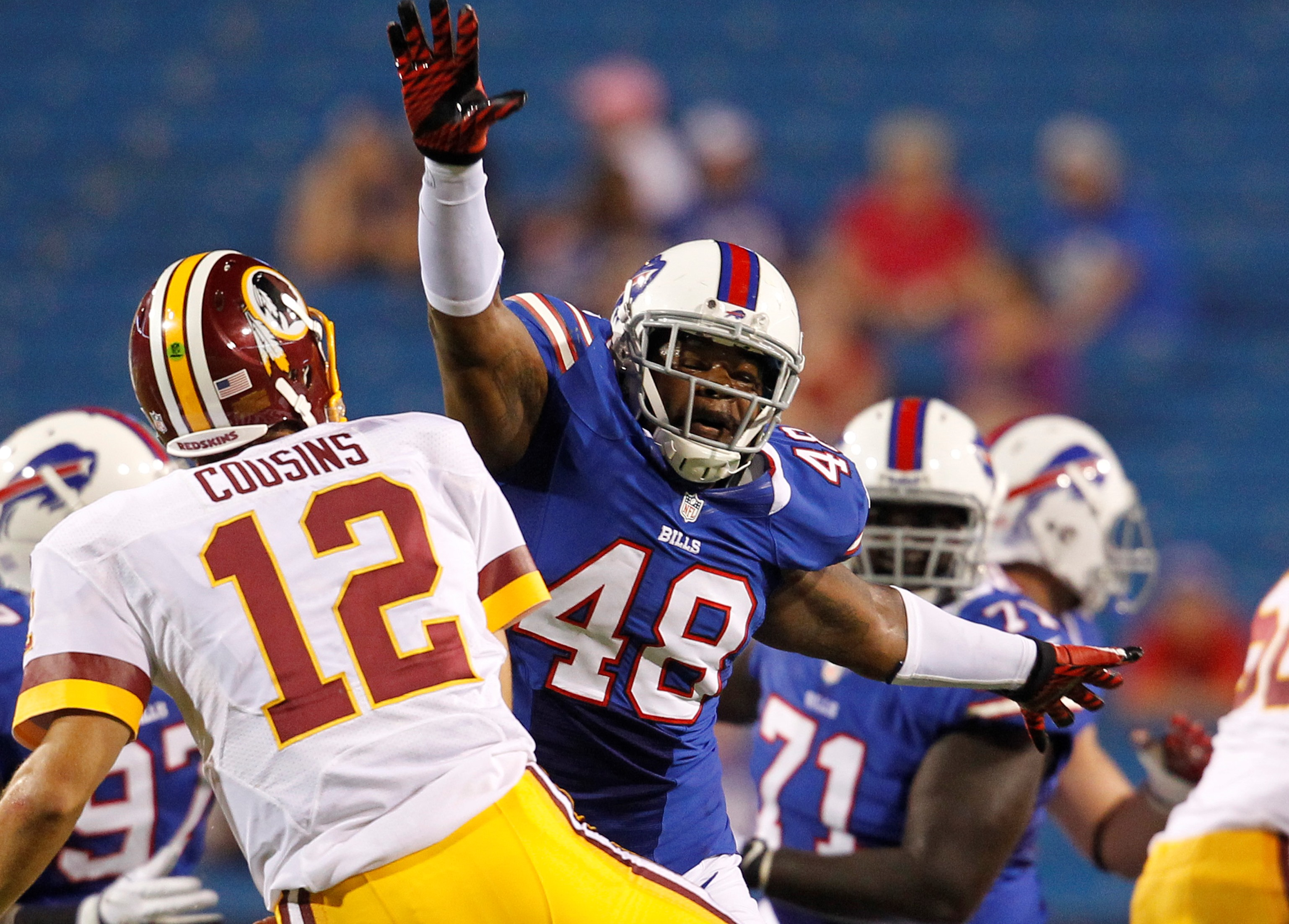 Robert Eddins in action during a preseason game against the Washington Redskins on Aug. 9, 2012. (Harry Scull Jr. /News file photo)