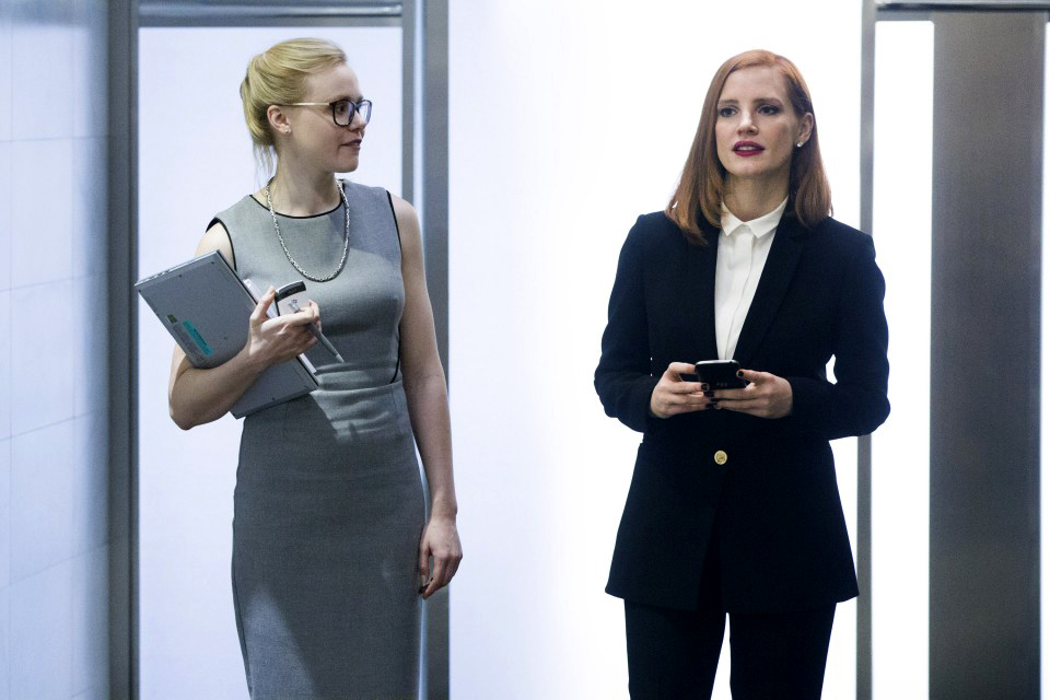 Alison Pill and Jessica Chastain star in 'Miss Sloane.' (Kerry Hayes, EuropaCorp-France 2 Cinema)