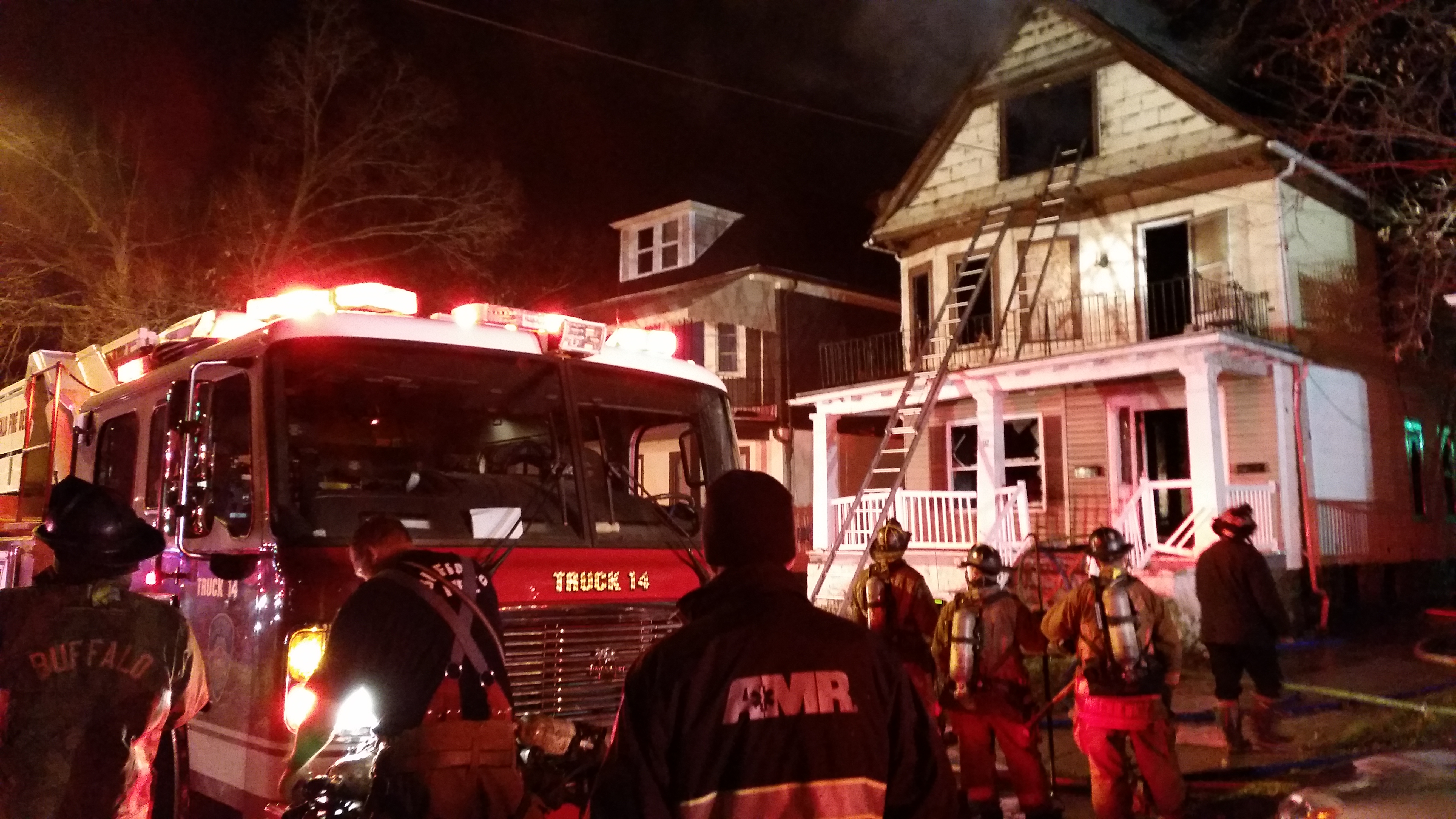Four Buffalo firefighters were injured in a fire Saturday morning on Rohr Street. (David F. Kazmierczak/Special to The News)