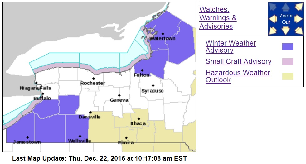 A winter weather advisory is in place for the southern half of Western New York through 4 p.m. today. (National Weather Service graphic)