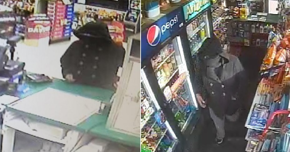 Surveillance photos from the Crosby's gas station in Lockport, left, and the Kwik Fill in Wheatfield. (Niagara County Sheriff's Office)
