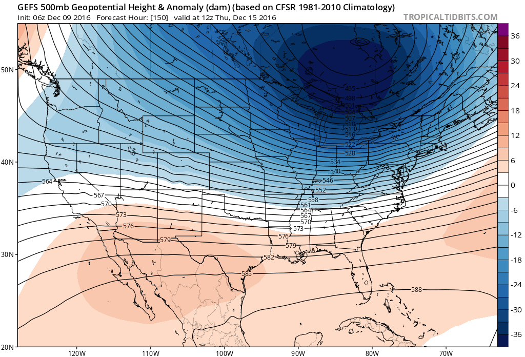 The coldest air of the season is forecast to chill the Buffalo Niagara region by mid next week, according to weather forecast models. (TropicalTidbits.com)