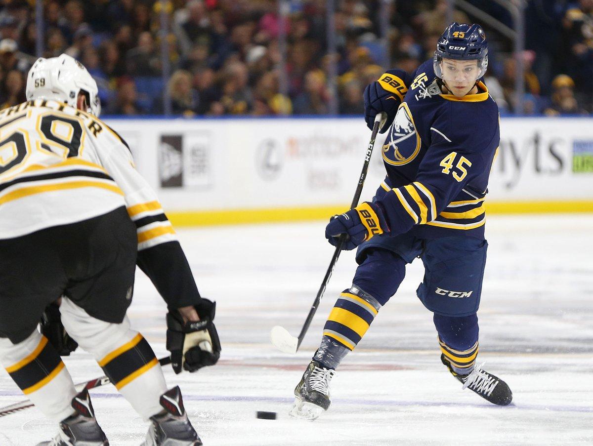 Brendan Guhle had a solid game in his NHL debut Saturday. (Mark Mulville/Buffalo News)
