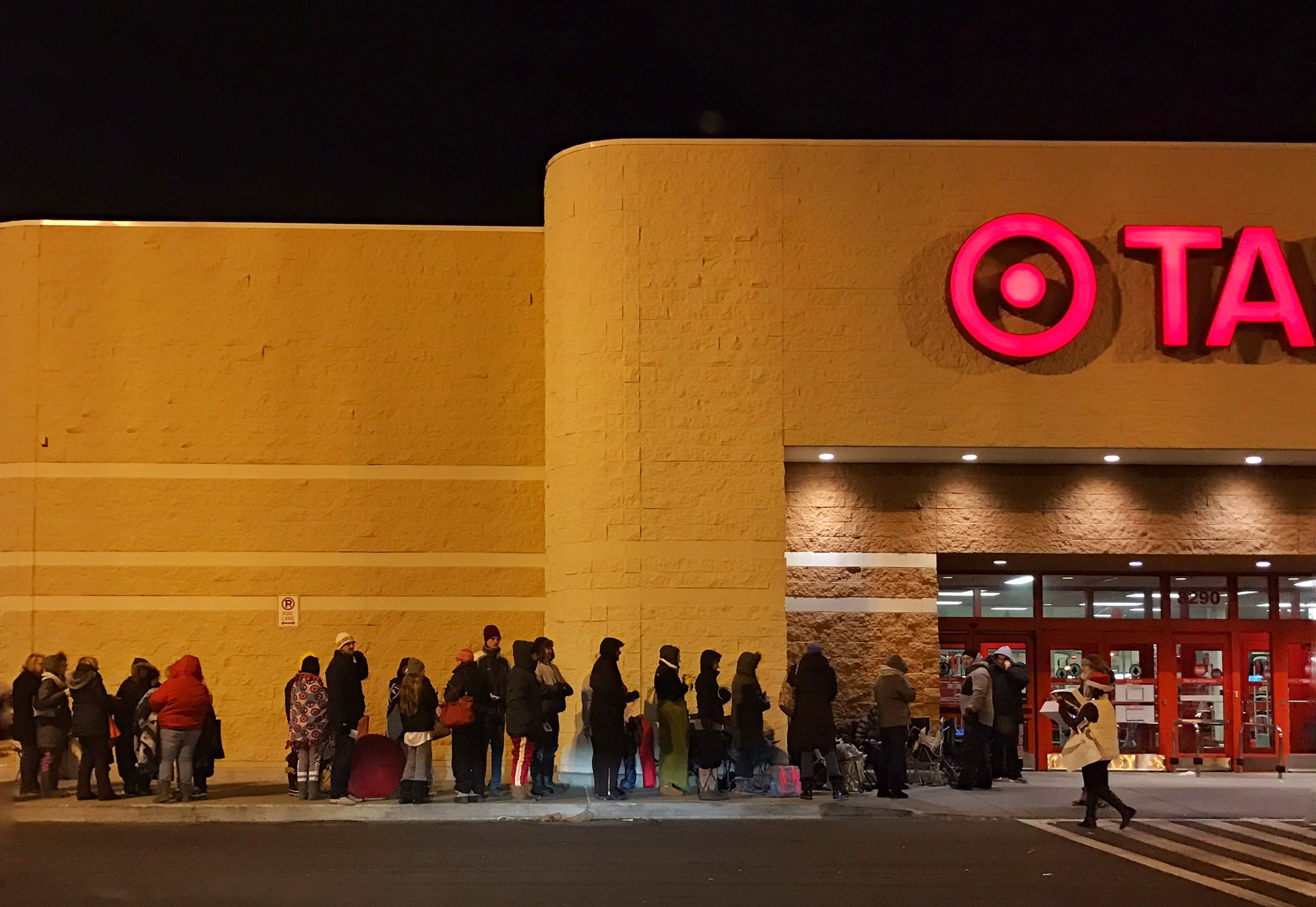 Waiting to catch a Hatchimal, customers lined up early at the Target on Transit Road in Amherst on a cold 24 degree morning Dec. 11. (Cathaleen Curtiss/Buffalo News)