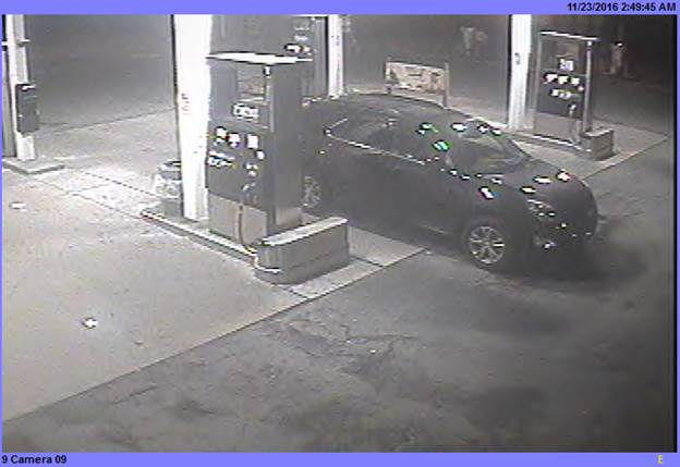 Police want to speak with a man who arrived at a gas station in this vehicle on Nov. 23. (Town of Tonawanda police)