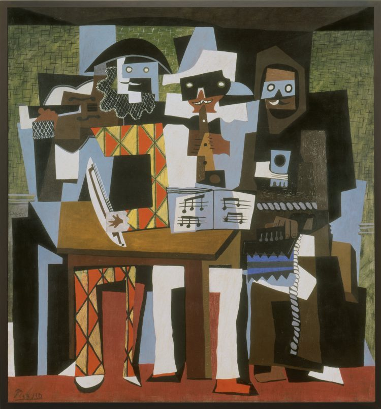 Pablo Picasso's 1921 painting 'Three Musicians,' on loan from the Philadelphia Museum of Art, is on view int he Albright-Knox Art Gallery's exhibition 'Picasso: The Artist and His Models.'