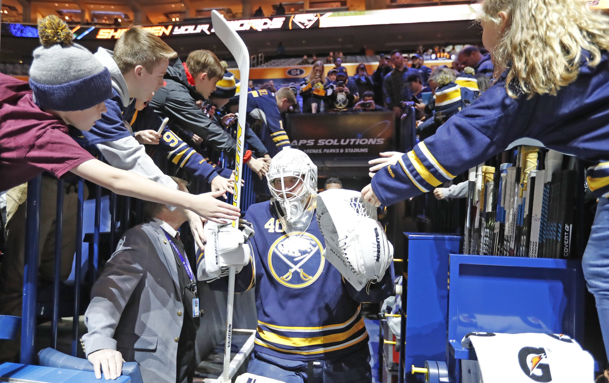 Robin Lehner will start for the Sabres against Winnipeg. (Harry Scull Jr./Buffalo News)