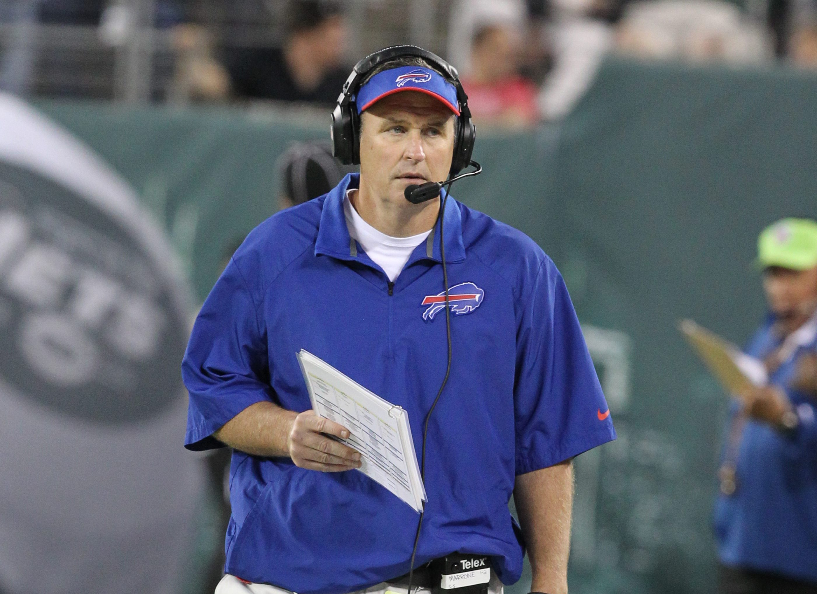 Buffalo Bills head coach Doug Marrone is seen on the sidelines at a game in East Rutherford, N.J., on Sept. 22, 2013.  (James P. McCoy/News file photo)
