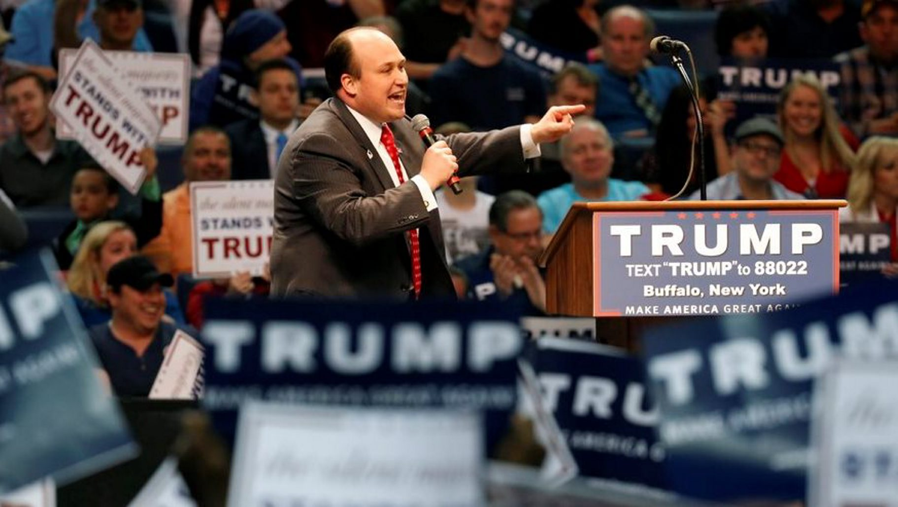 Erie County Republican Chairman Nick Langworthy speaks at a rally for Donald Trump at the First Niagara Center on Monday, April 18, 2016. (Harry Scull Jr./Buffalo News)
