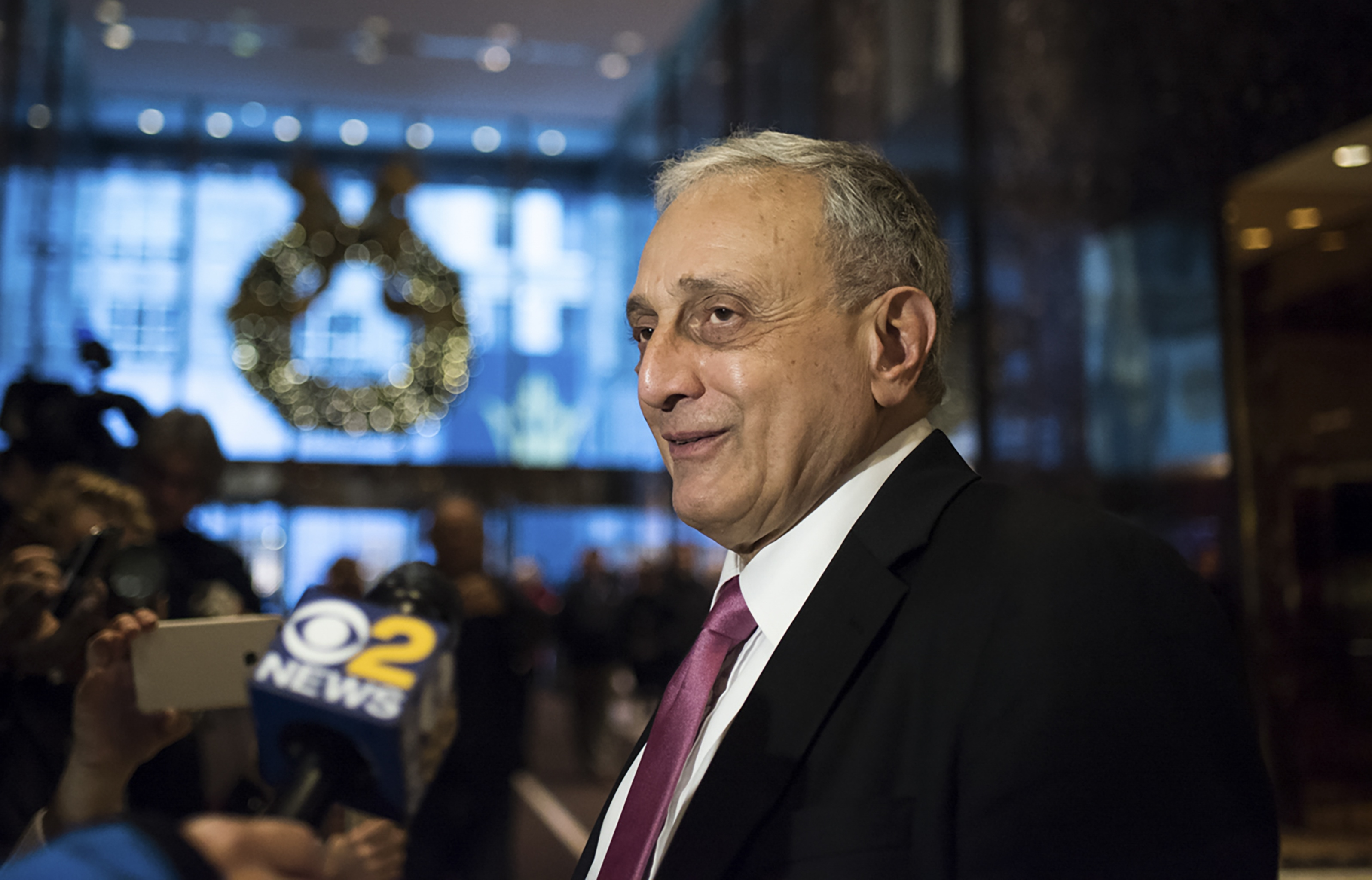 Carl Paladino speaks with reporters at Trump Tower on Fifth Avenue in New York on Dec. 5, 2016. (Hilary Swift/New York Times)